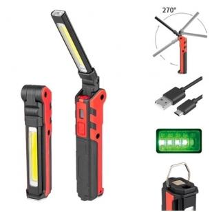 Akumuliatorinė darbo lempa 3W LED 150LM + 5W COB LED 360LM