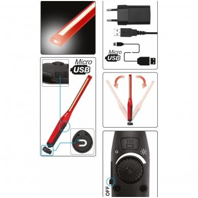 Akumuliatorinė darbo lempa labai galinga 7W COB, 600LM+120LM 7