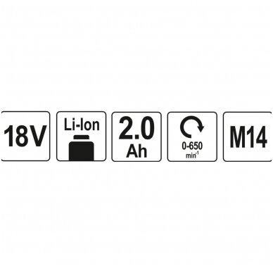 Akumuliatorinis maišytuvas YATO 18V - 1x2,0Ah 5