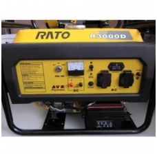 Benzininis elektros generatorius 3kW/2,7kW RATO R3000D su el. starteriu