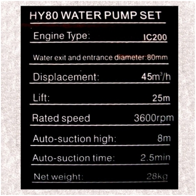 "Benzininis vandens siurblys 3"" HYUNDAY (Motopompa) 7"