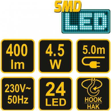 Darbo lempa 24SMD LED 4,5W 220V 5