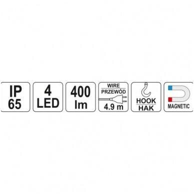 Darbo lempa SUPER LED virš 400 LUM 220V YATO 3