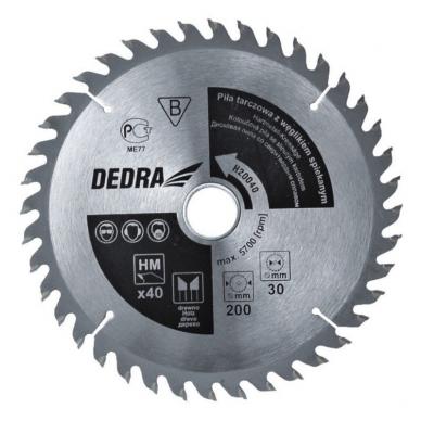 Diskas medžiui cementuoto karbido dantys 60d. 180x20mm DEDRA