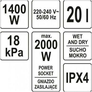 Dulkių siurblys pramoninis - drėgnas ir sausas valymas 1400W 20l YATO 6