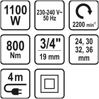 """Elektrinis smūginis veržliaraktis 3/4"""" 800Nm STHOR 6"""