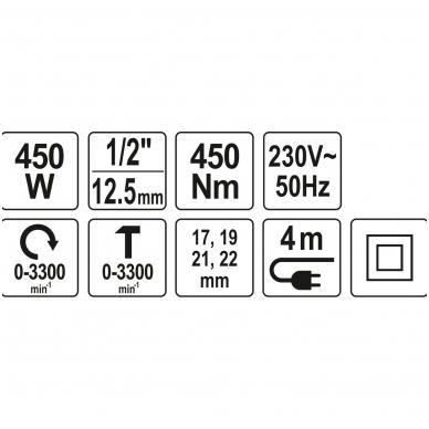 Elektrinis smūginis veržliasukis 450Nm YATO 10