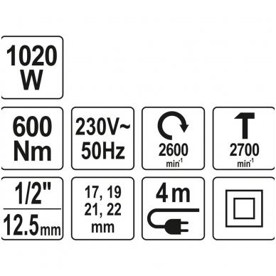 Elektrinis smūginis veržliasukis 600Nm YATO 10