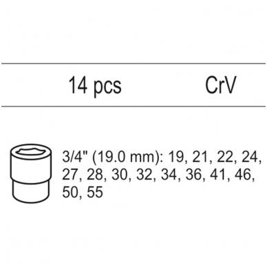 """Galvučių rinkinys 3/4"""" 19-55mm, 14vnt. (tinka į vežimėlius) YATO 2"""