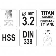 Grąžtas metalui HSS-TIN 3.2 mm