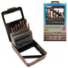 Grąžtų metalui rinkinys HSS 1-10mm 19 vnt.