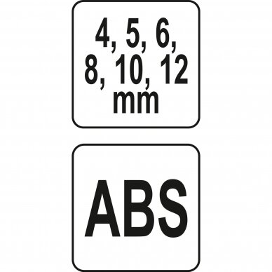 Grąžtų šablonas su rankena  4, 5, 6, 8, 10 ir 12 mm 4