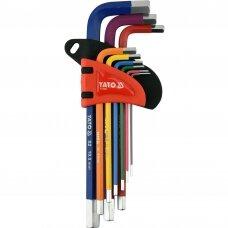 Hex raktų rinkinys L-tipo spalvoti šešiakampiai 1,5-10mm 9vnt YATO