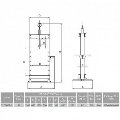 Hidraulinis presas su manometru 40t, kojinis 2