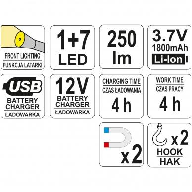 Įkraunama darbo lempa COB LED 3W 8