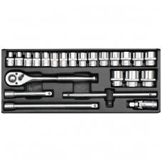 """Įrankių rinkinys 1/2"""", 10-32 mm,  23 vnt."""