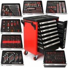 Įrankių spintelė ant ratukų BJC su įrankiais 7 stalčiai 298 vnt.