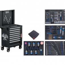 Įrankių spintelė bluetooth US LED 8 stalčiai su 263 įrankiais BGS