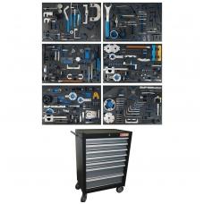 Įrankių spintelė su ratukais | 7 stalčiai | Su variklio fiksavimo įrankiais