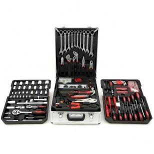 Įrankių rinkinys aliuminiame lagamine, terkšliniai raktai 188vnt.