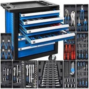 Įrankių spintelė ant ratukų su įrankiais 7 stalčiai 166vnt.