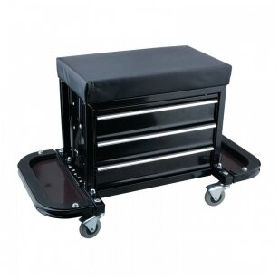Įrankių spintelė - kėdutė su 3 stalčiais ir atlenkiamais 2 lentynomis