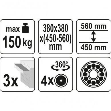 Įrankių kėdutė su 3 stalčiais YATO 7