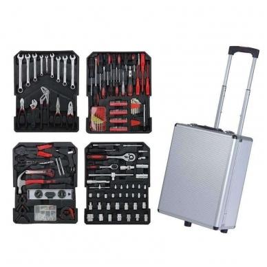 Įrankių rinkinys aliuminiame lagamine su ratukais 187 vnt. 2