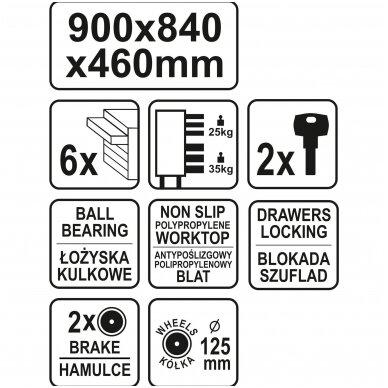 Įrankių spintelė ant ratukų, 6 stalčiai, 1 šoninės durys (tuščia) STHOR 11