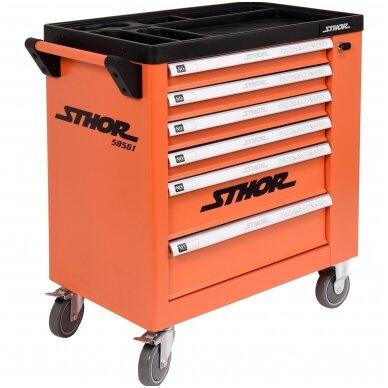 Įrankių spintelė ant ratukų, 6 stalčiai, 1 šoninės durys (tuščia) STHOR 7