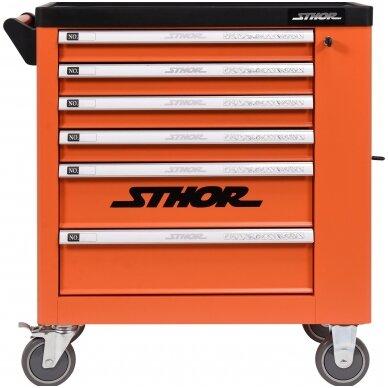 Įrankių spintelė ant ratukų, 6 stalčiai, 1 šoninės durys (tuščia) STHOR 2