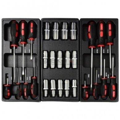 Įrankių spintelė ant ratukų su 155 įrankiais 7stalčiai 3