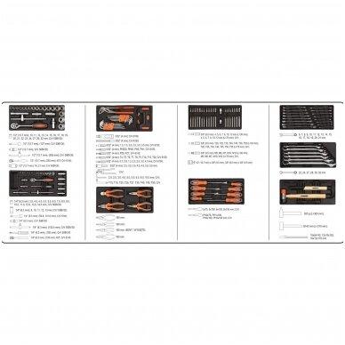 Įrankių spintelė ant ratukų su įrankiais 6 stalčiai 1 šoninės durys 184 vnt. STHOR 13