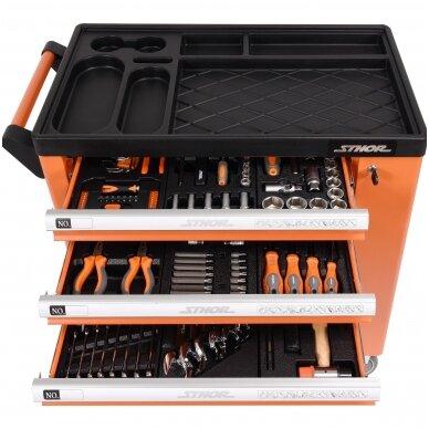 Įrankių spintelė ant ratukų su įrankiais 6 stalčiai 1 šoninės durys 184 vnt. STHOR 6