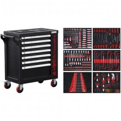 Įrankių spintelė ant ratukų  su įrankiais, 7 stalčiai, 1 šoninės durys,  250 vnt. įrankių