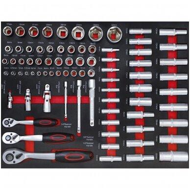 Įrankių spintelė ant ratukų  su įrankiais, 7 stalčiai, 1 šoninės durys,  250 vnt. įrankių 2