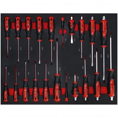 Įrankių spintelė ant ratukų  su įrankiais, 7 stalčiai, 1 šoninės durys,  250 vnt. įrankių 5