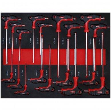 Įrankių spintelė ant ratukų  su įrankiais, 7 stalčiai, 1 šoninės durys,  250 vnt. įrankių 6