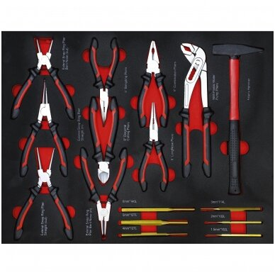 Įrankių spintelė ant ratukų  su įrankiais, 7 stalčiai, 1 šoninės durys,  250 vnt. įrankių 7