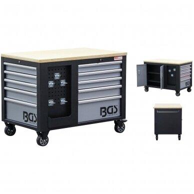 Įrankių vežimėlis 2x5 stalčiai + 1 spintelė (tuščia) BGS 2