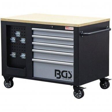 Įrankių vežimėlis 2x5 stalčiai + 1 spintelė (tuščia) BGS 3
