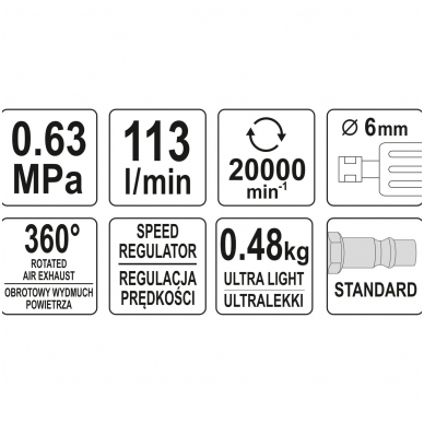 Kampinis pneumatinis šlifuoklis 6mm YATO 5