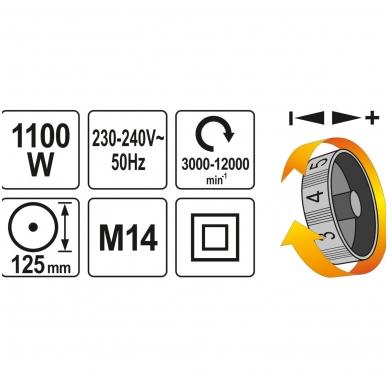 Kampinis šlifuoklis su greičio reguliavimu 1100W 125 mm YATO 4