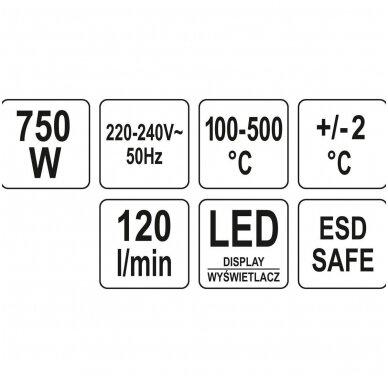 Karšto oro litavimo stotelė 750W, 500°C, Led ekranas su ventiliatoriumi YATO YT-82457 7