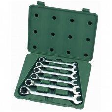 Kombinuotų raktų su reversine terkšle rinkinys SATA 6vnt. (10-19mm)