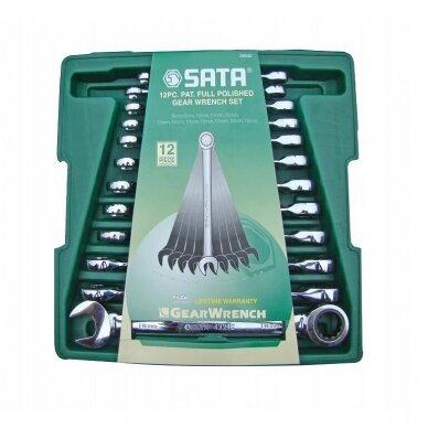 Kombinuotų raktų su terkšlė rinkinys 12vnt. 8-19mm SATA