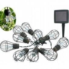 Lauko LED lempučių girlianda su saulės baterija 6m