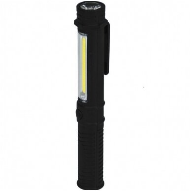 LED žibintuvėlis 1.5W COB LED+1WLED, PEN, su elementais