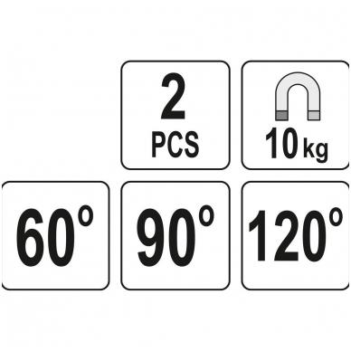 Magnetinis laikiklis suvirinimo darbams L-tipo 10 kg 2vnt. YT-08721 5