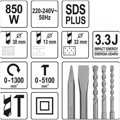 Perforatorius SDS PLUS 850W (2 griebtuvai) YATO 5